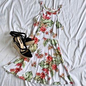 Tropical Halter Skater Dress